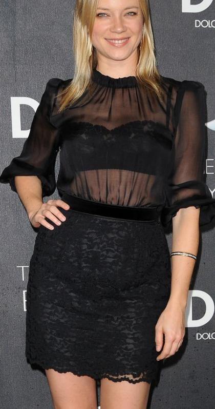 Amy Smart transparent dress