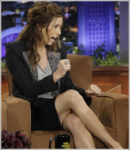 Jessica Biel Gets Somewhat Leggy On Conan