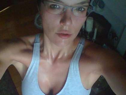 Adrianne Curry Gets Sweaty And Hot