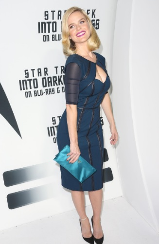 Alice Eve Cleavy Futuristic Dress At Star Trek Into Darkness BD/DVD Release Event