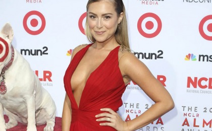Alexa Vega Busts Out In Another Red Dress