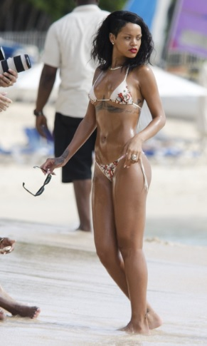 Rihanna Delicious Body Wearing a Bikini in Barbados