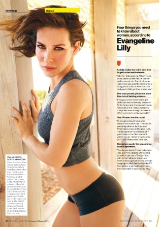 Evangeline Lilly Wows Men's Health magazine January/February 2014