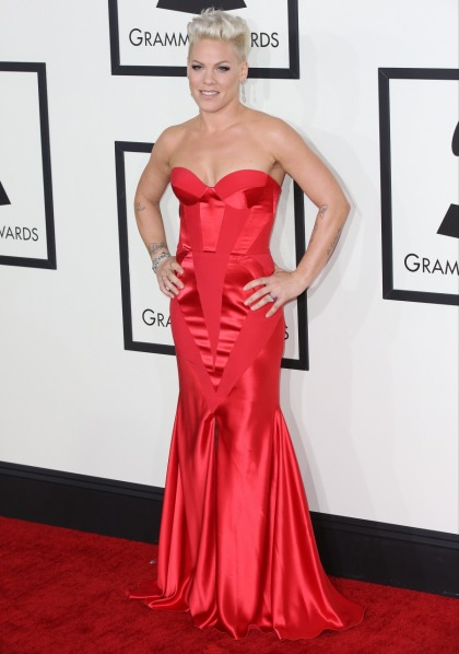 Pink in red satin Johanna Johnson at the Grammys: pretty or pageanty?