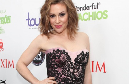 Alyssa Milano Works It At The Super Bowl