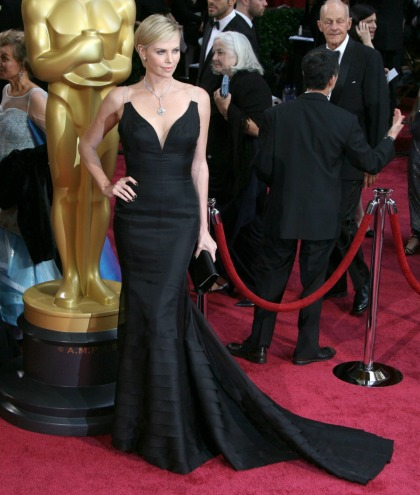 Charlize Theron brings the drama in black Dior, diamonds: stunning or repetitive?