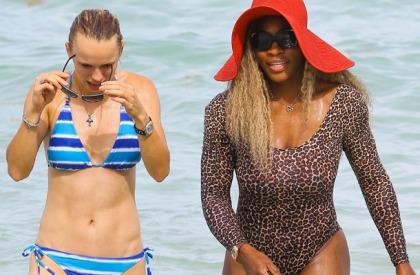 Serena Williams and Caroline Wozniacki Bikini Pictures