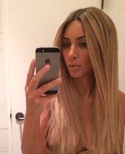 Kim Kardashian Wears a Blonde Wig, Might Have Shown Nipple