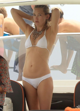 Kate Hudson Stunning in a White Bikini in Ibiza