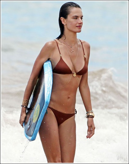 Surf's Up With Alessandra Ambrosio In A Tiny Bikini!