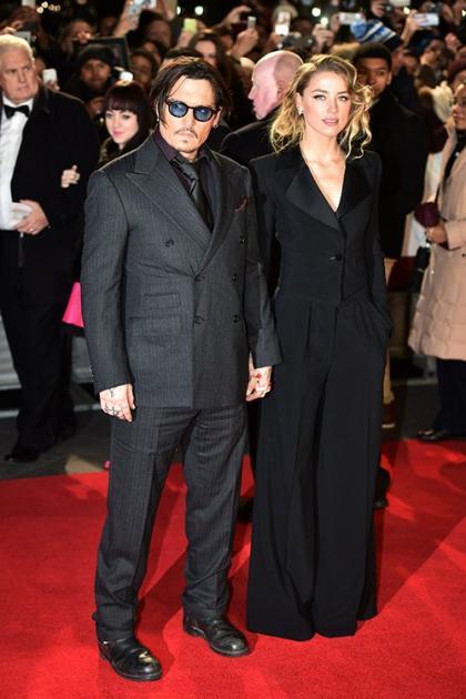 Johnny Depp & Amber Heard Team Up for 'Mortdecai' Premiere