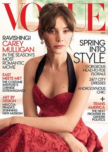 Carey Mulligan is Ravishing in Red for Vogue May 2015 Cover