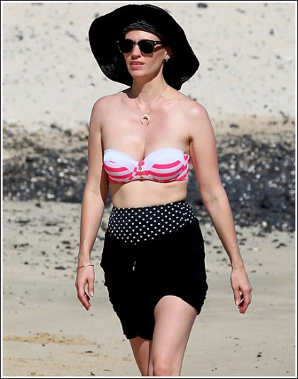 January Jones Drops Some Bodacious Bikini Cleavage