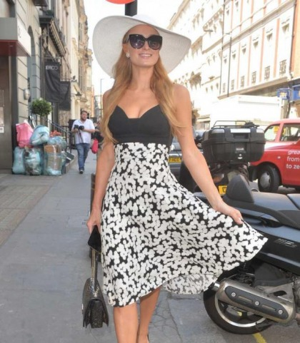 Paris Hilton's Pushed-Up Cleavage Does London