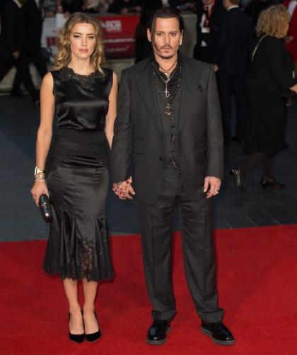 Johnny Depp & Amber Heard wear black at 'Black Mass' premiere: ugh'