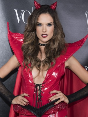 Alessandra Ambrosio Cleavage in a Red Devil Costume for Halloween