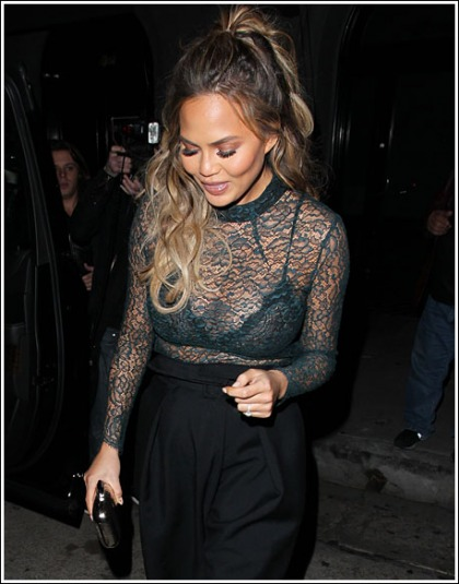 Pregnant Chrissy Teigen Shows Off Her Already Bigger Cleavage!