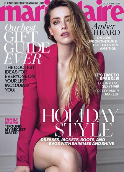 Amber Heard Heats Up the December 2015 Cover of Marie Claire