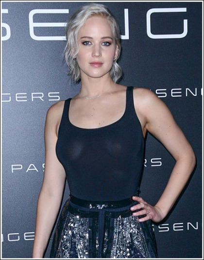 Jennifer Lawrence Busting Out Like Bananas In A Sheer Top!