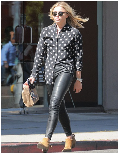Chloe Grace Moretz Gets Leggy And Curvy In Skin-Tight Leather Pants