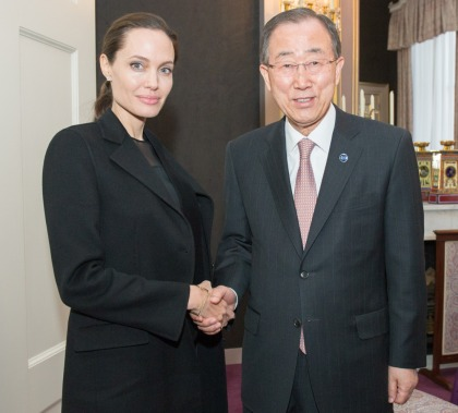 Angelina Jolie attends a session at The Hague for Trust Fund for Victims