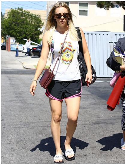 Kaley Cuoco Parades Her Post-Yoga Workout Legs And Bosom