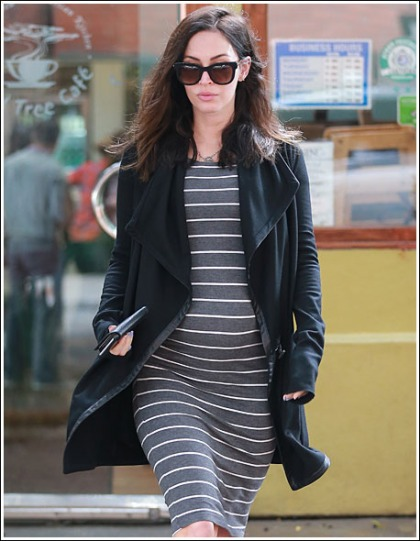 Pregnant Megan Fox Busting Out From All Over The Place In A Formfitting Dress!