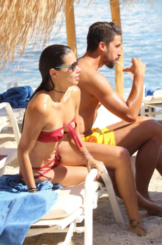 Adriana Lima Red Hot Bikini on the Beach in Greece