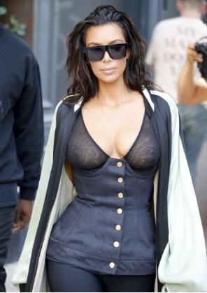 Kim Kardashian Nipples in a See-through Top in NYC