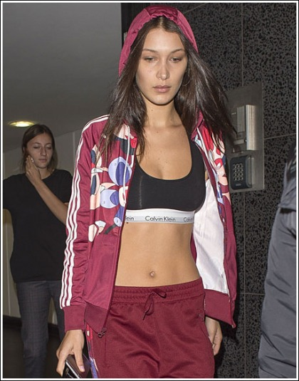 Bella Hadid Flashes Her Plentiful Cleavage And Her Tight Tummy 90's Style