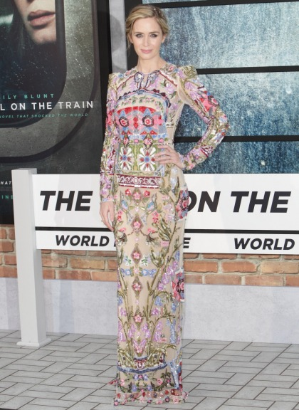 Emily Blunt in McQueen at the 'Girl/Train' UK premiere: stunning or overworked'