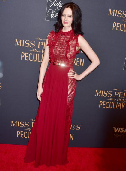 Eva Green in Elie Saab at the 'Miss Peregrine' premiere: dowdy or sexy'