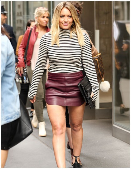 Hilary Duff Struts Her Sexy Legs And Groovy Thighs In A Short Skirt