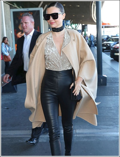 Miranda Kerr Gets Leggy In Skin-Tight Leather Pants