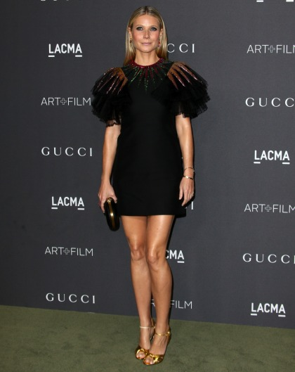Gwyneth Paltrow in linebacker-shouldered Gucci at LACMA event: cute or tragic?