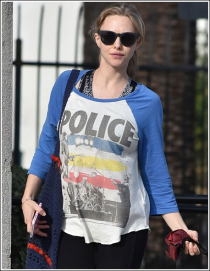 Pregnant Amanda Seyfried Stretching Her Police T-Shirt With Her Growing Bosom