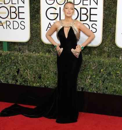 Blake Lively in velvet Versace at the Golden Globes: stunning or overkill?