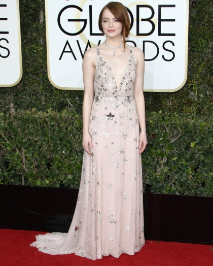 Emma Stone in star-covered Valentino at the Golden Globes: twee or sweet?