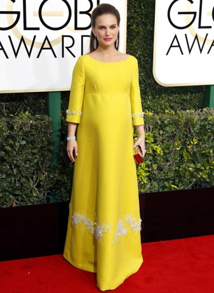 Natalie Portman in chartreuse Prada at the Golden Globes: dated, fug or cute?