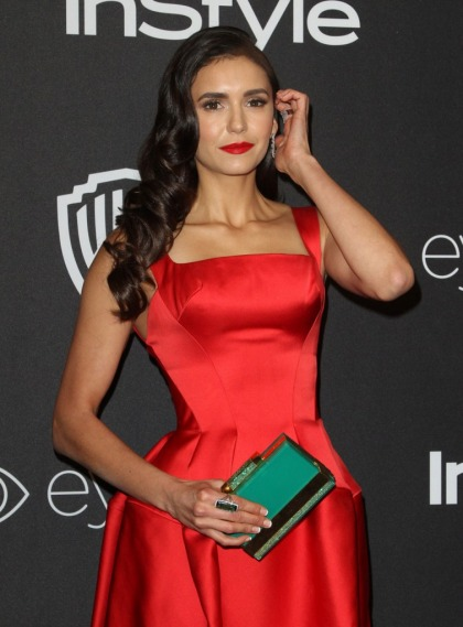 Nina Dobrev in Zac Posen at the InStyle Globes party: stunning or overdone?