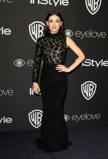 Lea Michele in Ungaro at Golden Globes after-party: purple reign or just plain?