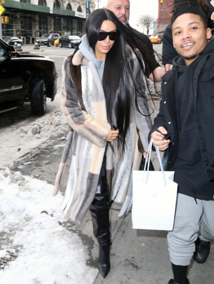 Kim Kardashian struts around NYC in a patchwork fur coat: cute or disgusting?
