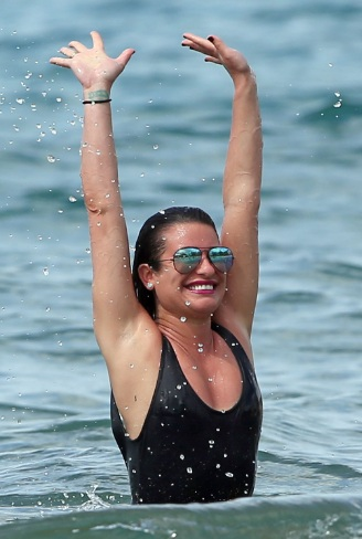 Lea Michele Swimsuit at a Beach in Hawaii