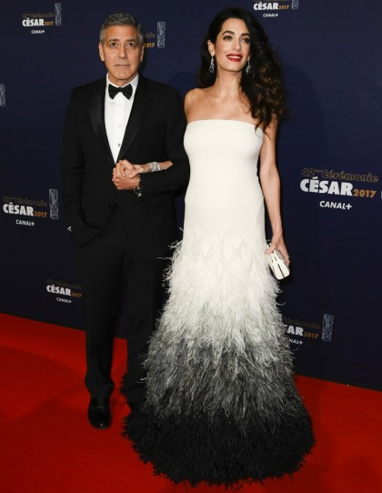 Amal Clooney wore ostrich-feathered Versace to the Cesars: lovely or meh?