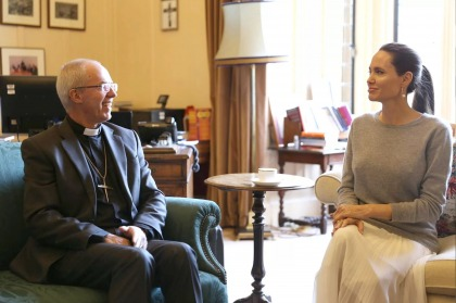 Angelina Jolie met with the Archbishop of Canterbury in London yesterday