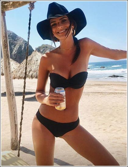 Emily Ratajkowski's Massive/Perfect Cleavage Spilling Out Of Her Tiny Bikini
