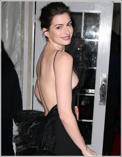 Anne Hathaway Flashes Some Braless Bosom Action' WOW!