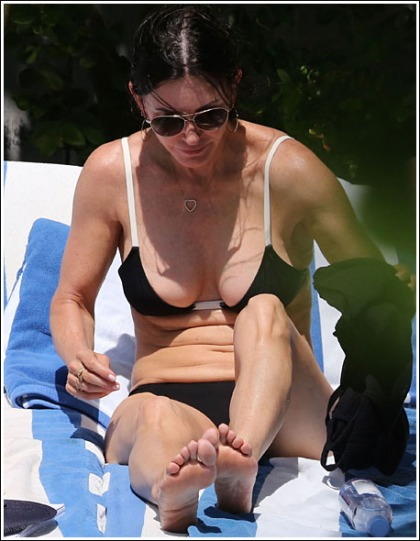 Courteney Cox Busting Out Her Still Awesome Bikini Cleavage Like Bananas
