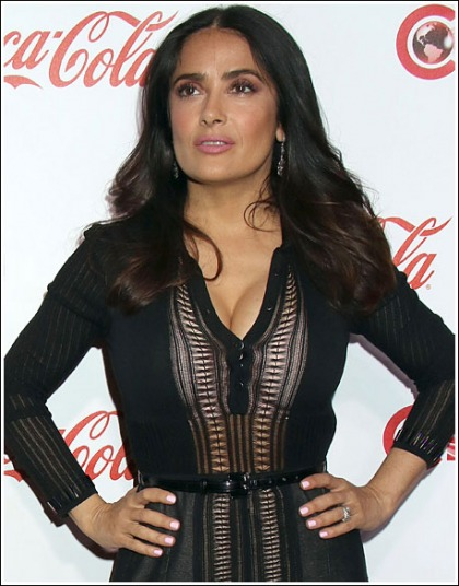 Salma Hayek Busts Out Her Ginormous Cleavage!