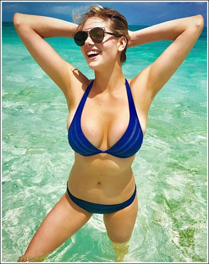 Kate Upton Busts Out Her Ginormous Bikini Cleavage' WOW!